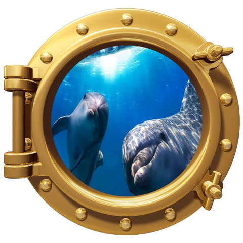 "Dolphin Underwater Porthole Wall Color Decal Graphic 12"" Removable Reusable"