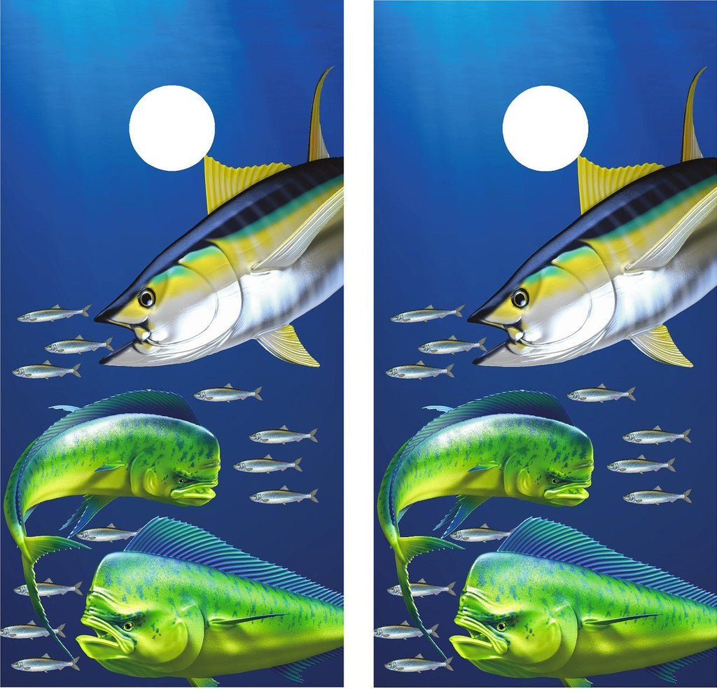 Cornhole Wrap Decal Tuna Mahi Fishing Laminated Includes 2 Decals