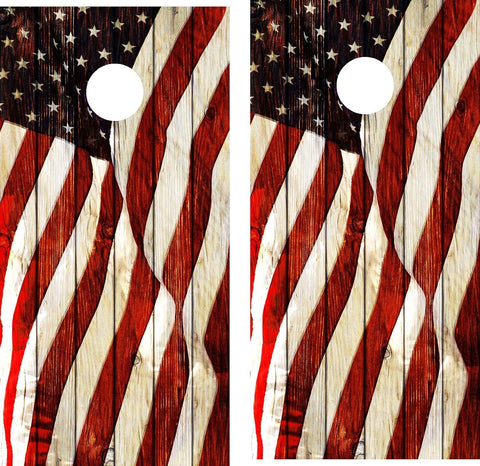 Cornhole Wrap Decal American Flag Weathered Wood Laminated Includes 2 Decals