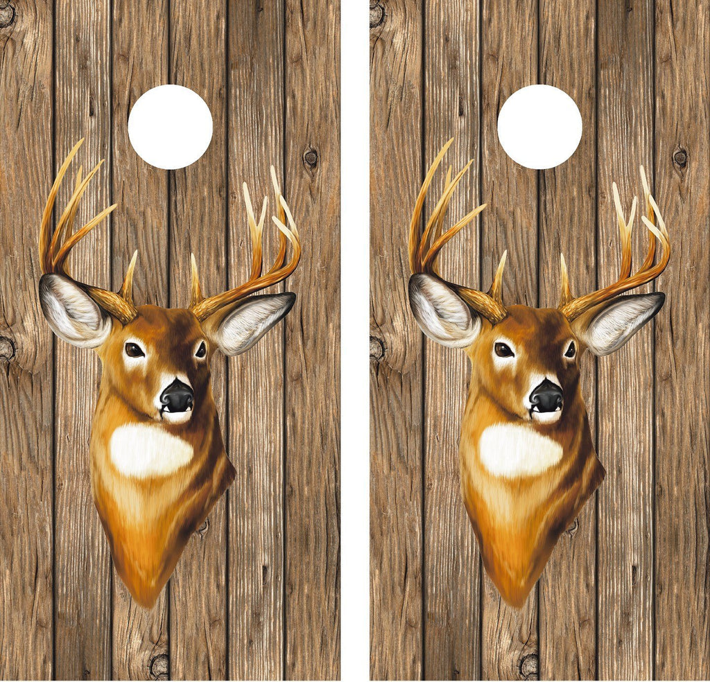 Cornhole Wrap Decal Wood Whitetail Deer Laminated Includes 2 Decals