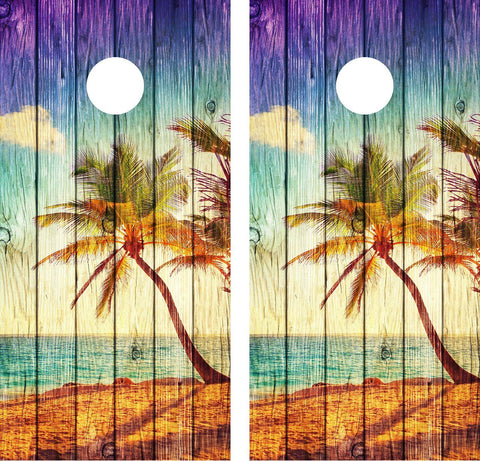 AV Grafx Cornhole Wrap Decal Beach Palm Tree Weathered Wood
