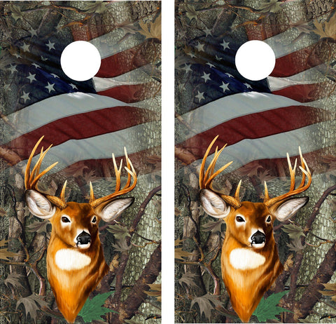 Cornhole Wrap Decal Camo Oak Deer Flag Flag Laminated
