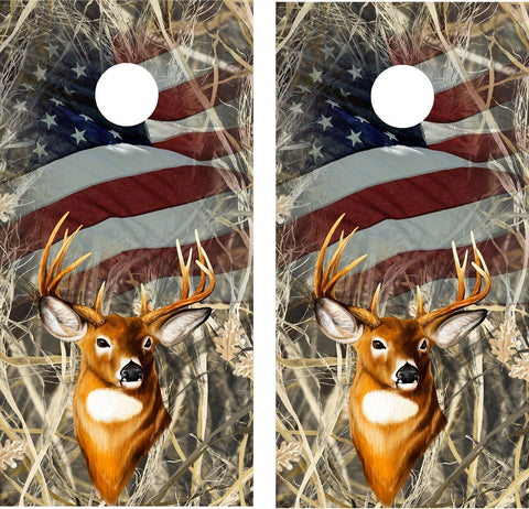 Cornhole Wrap Decal Camo Tallgrass Flag Deer Laminated Includes 2 Decals