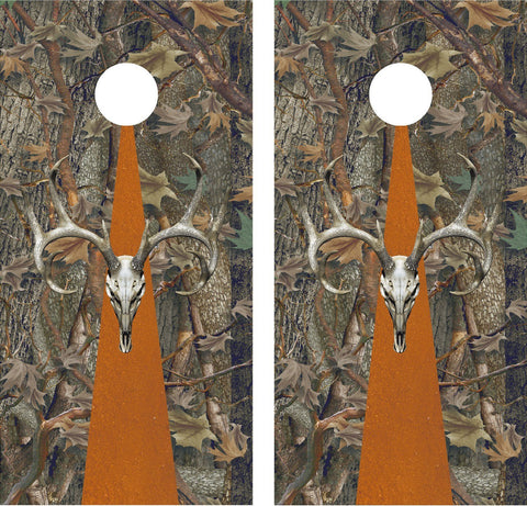 Cornhole Wrap Decal Deer Skull Camo Laminated Includes 2 Decals