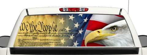 Gun Rights Truck Rear Window Wrap Decal We the People Graphic Perforated Vinyl