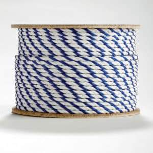 3-Strand Twisted Blue and White Polypropylene Rope