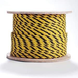 3-Strand Twisted Yellow and Black Polypropylene Barrier Rope