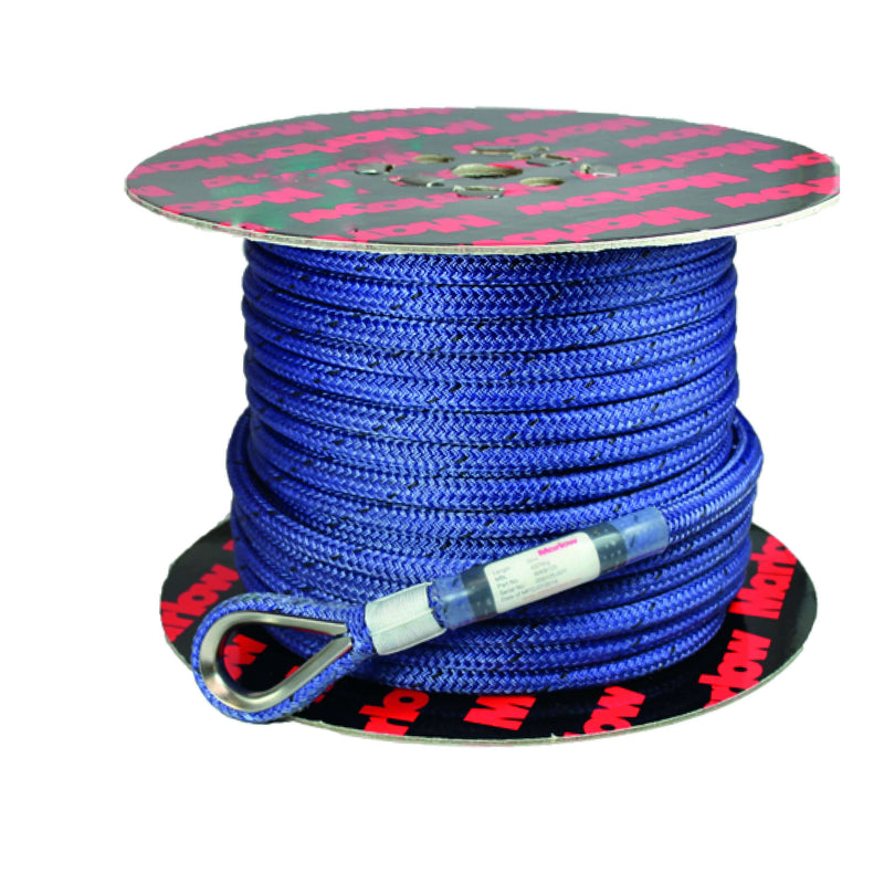 12 mm Raptor Bull Rope with Spliced SS Thimble On One End - Blue