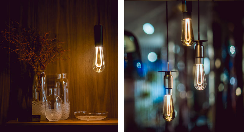 Collage of ARC light bulbs hanging
