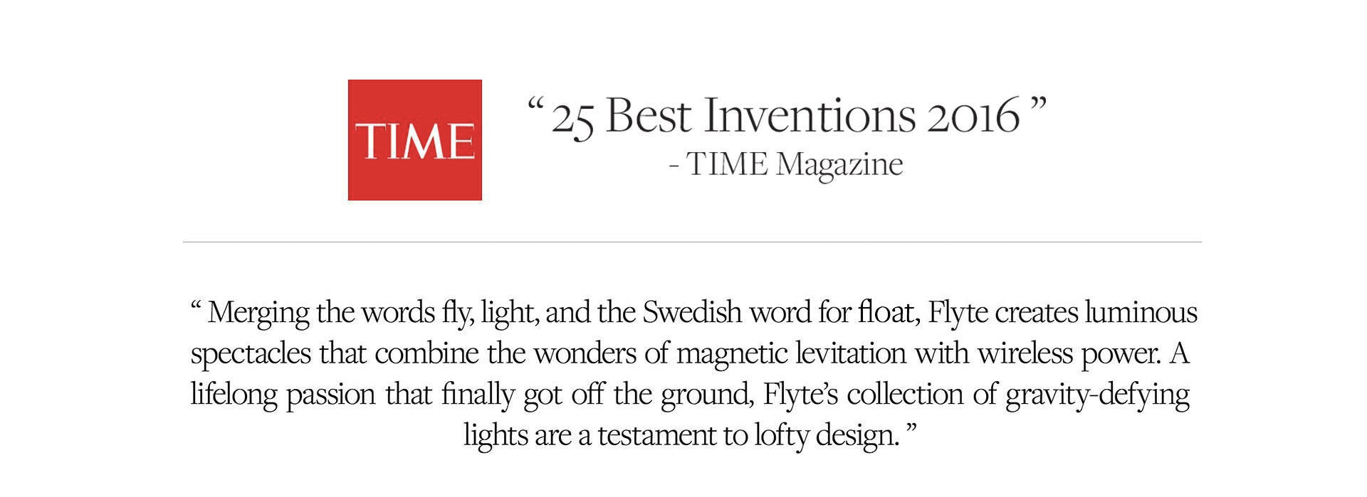 TIME magazine about FLYTE levitating products