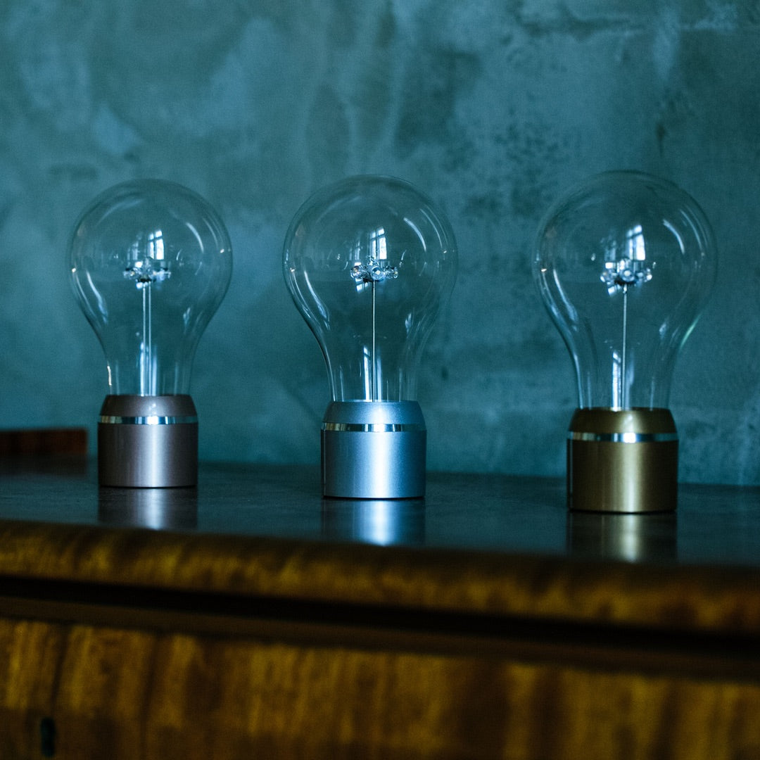 Changeable levitating light bulbs for FLYTE base, full Edison collection, side shot