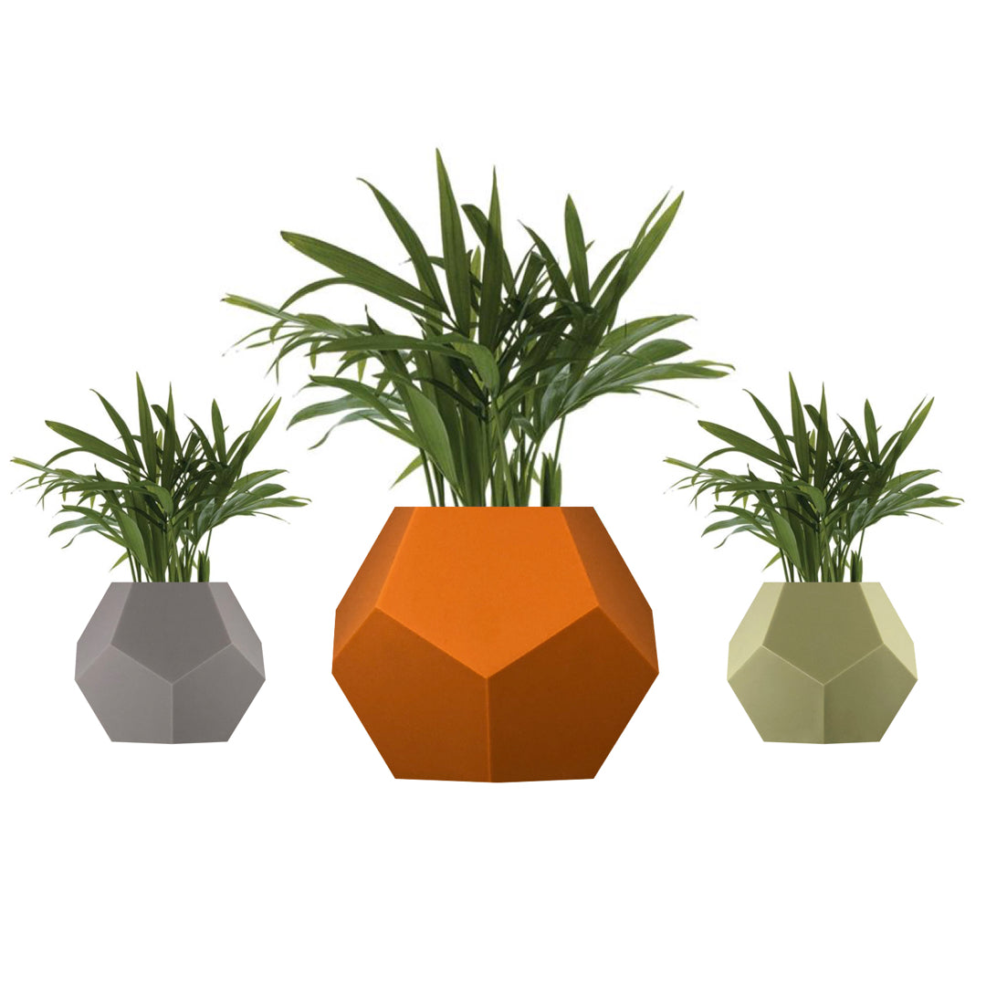 3 Levitating planters, pots with 3 silicone skin options - grey, terracota, olive