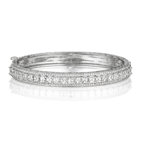 Wide Asscher-Cut Diamond Bangle