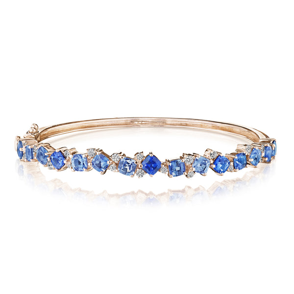 Cushion Cut Blue Sapphire Ombre Cluster Bangle