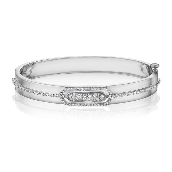 Princess-Cut Moderne Deco Wide Bangle