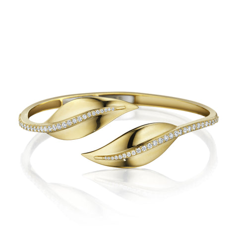 Diamond Center Leaf Bypass Bangle