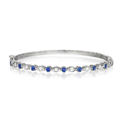 Blue Sapphire Round & Marquise Bangle
