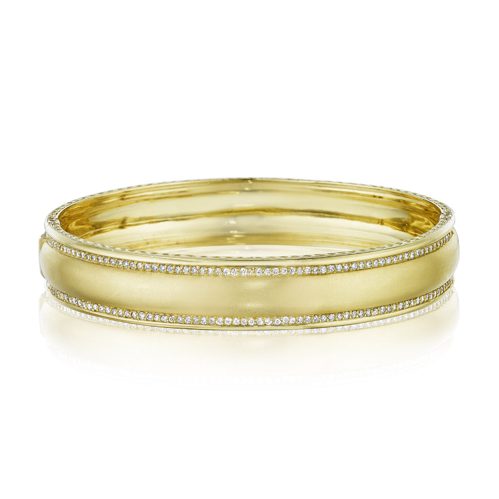 Wide Engravable Diamond Bangle
