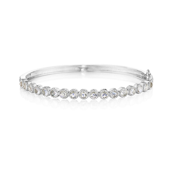 Round Bezel Moonstone Bangle