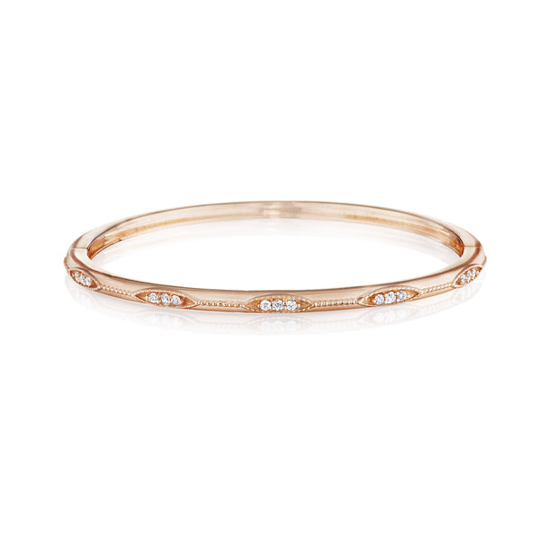 Thin Diamond Station Graduated Bangle