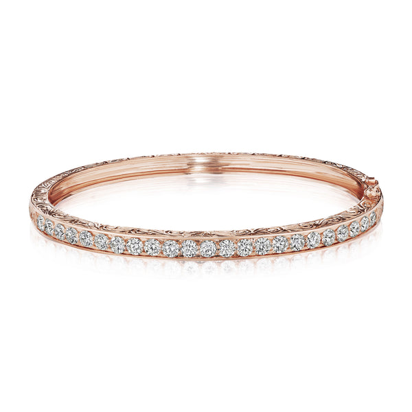Engraved Diamond Bangle