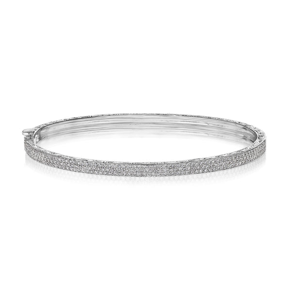 3 Row Straight Pave Bangle