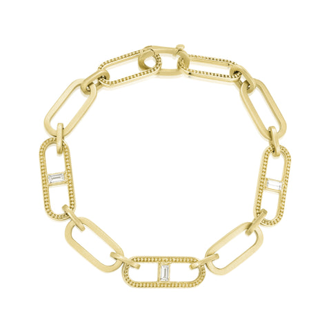 Diamond Baguette Station Beaded Flat Link Bracelet