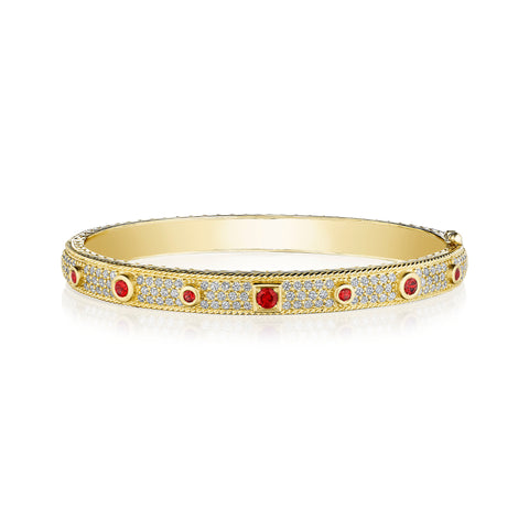Ruby Round & Square Amulet Bangle