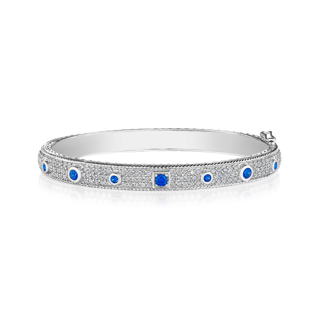 Blue Sapphire Round & Square Amulet Bangle