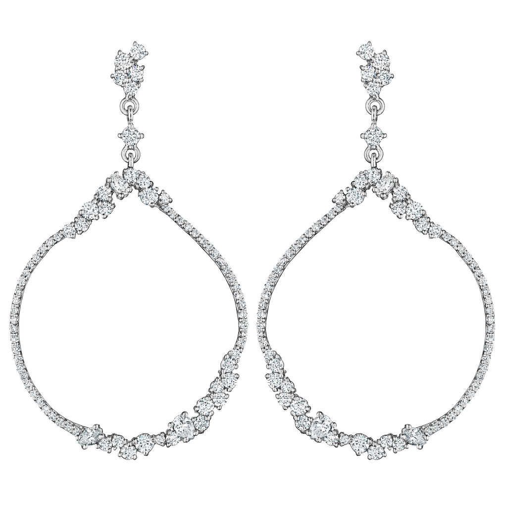 All Diamond Open Round Stardust Earrings