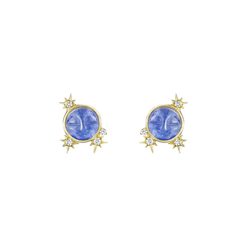 Man In The Moonstone Stud Earrings