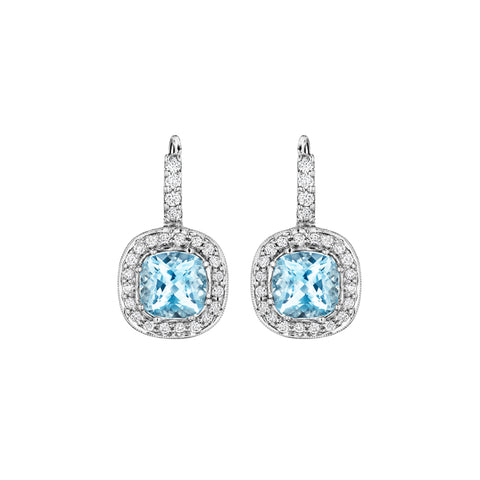 Cushion Aquamarine Earrings