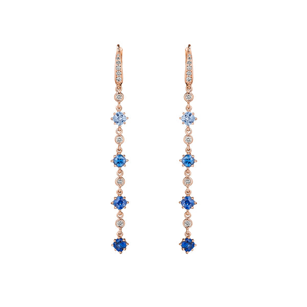 Blue Sapphire Ombre Drop Earrings