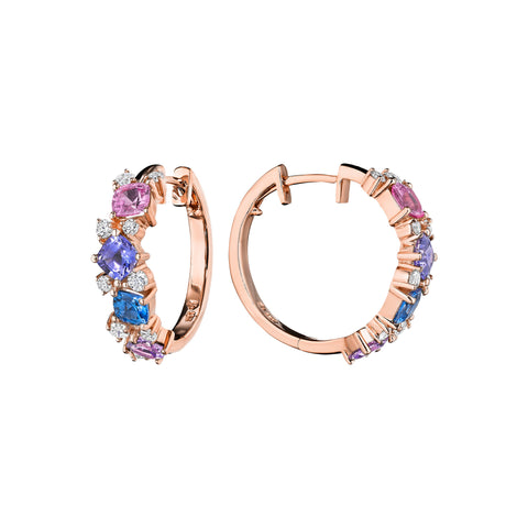 Watercolor Cluster Hoop Earrings