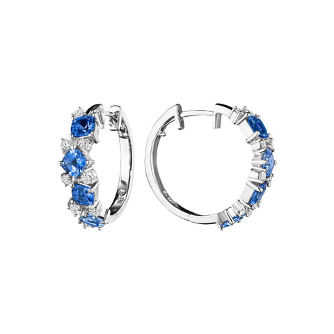 Blue Sapphire Cluster Hoop Earrings
