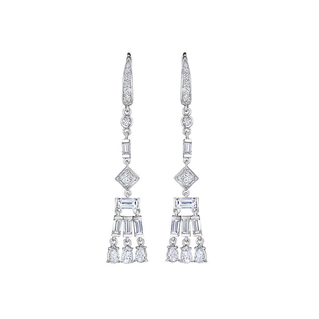 Long Fancy-Cut Moderne Earrings
