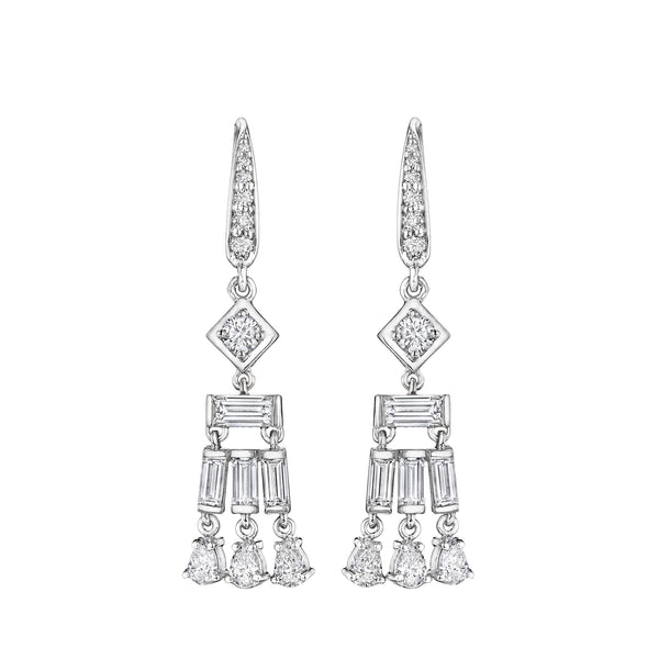 Fancy-Cut Moderne Deco Earrings