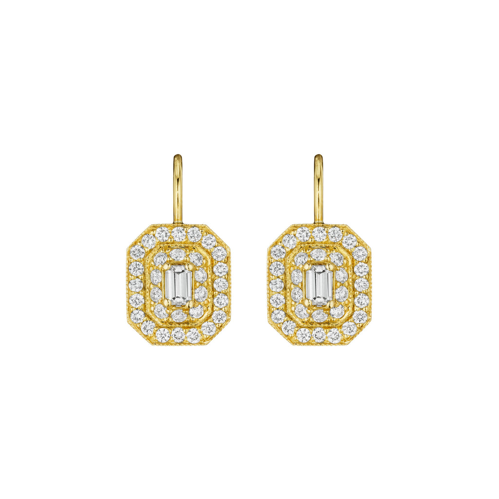 deco earrings art drop diamond