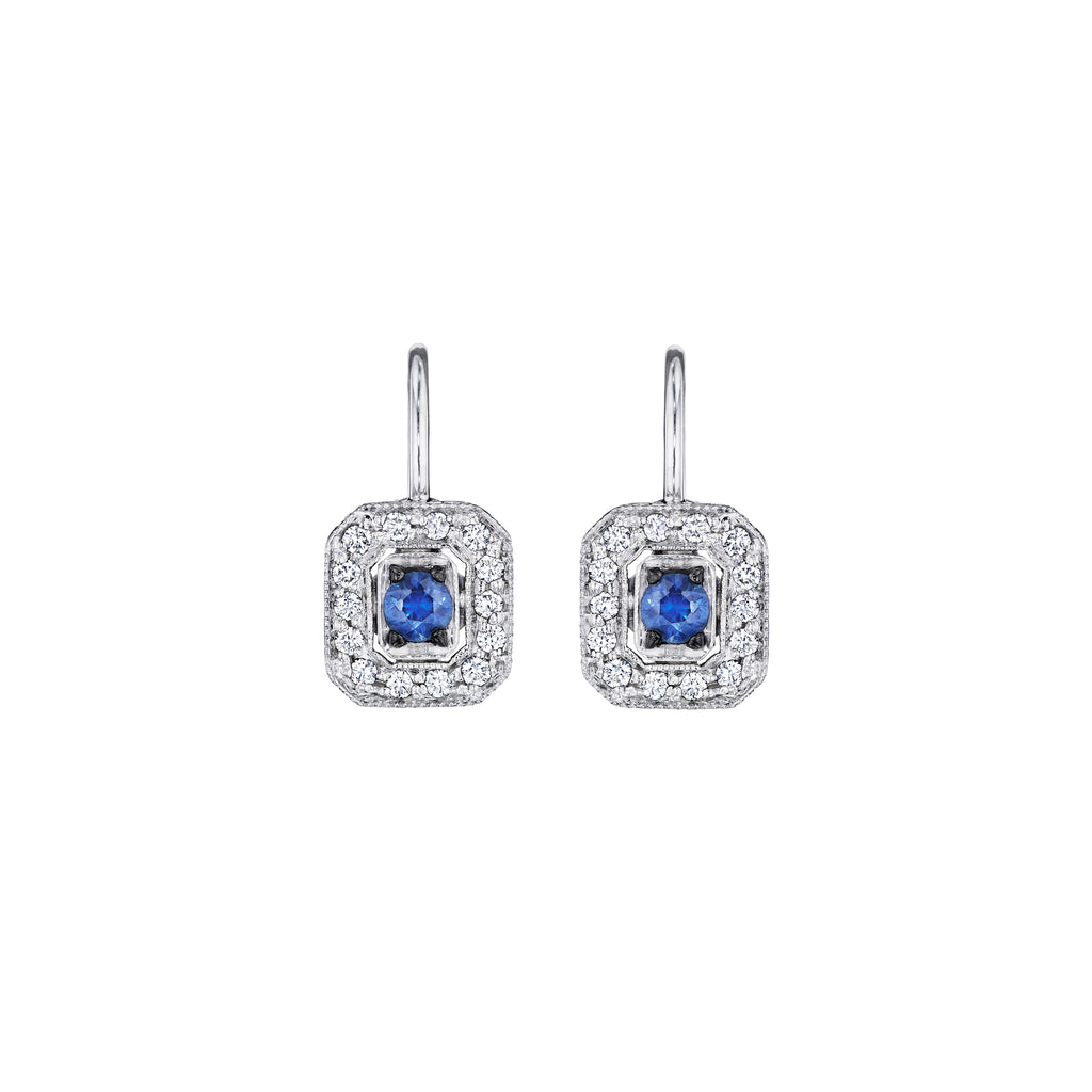 Classic Emerald Shape Blue Sapphire Earrings