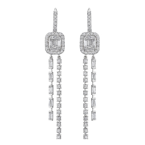 Illusion Linear Double Drop Earrings