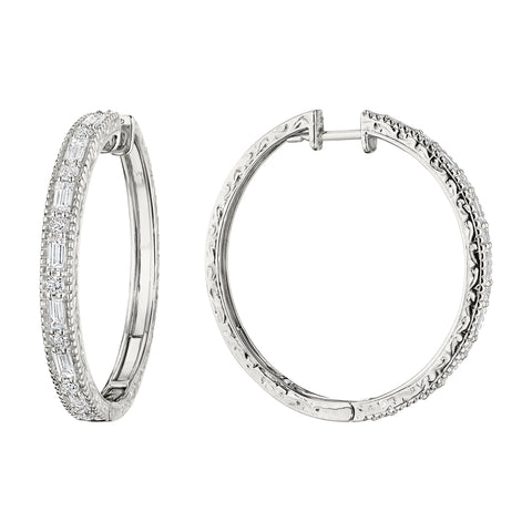 Round & Baguette Hoop Earrings