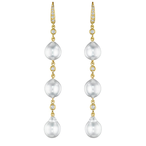 Triple Drop Pearl Earrings
