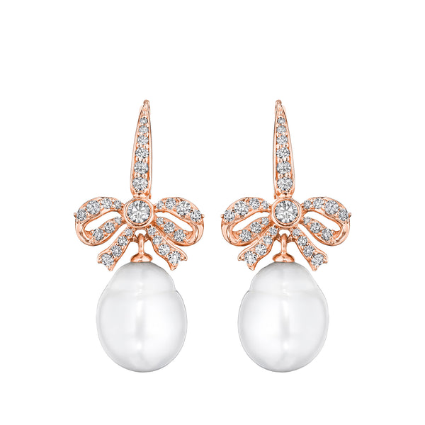 Pearl Knot Bow Earrings
