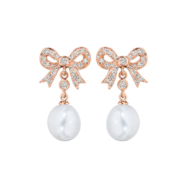 Pearl Bow Stud Earrings