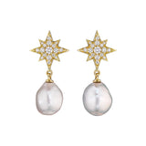 Starburst Pearl Drop Earrings