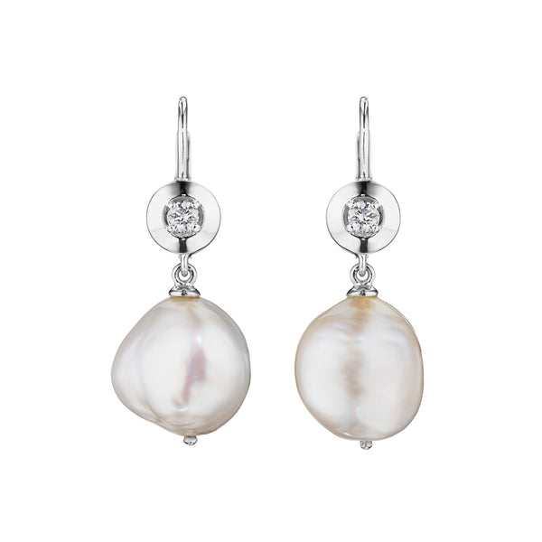Round Bezel Pearl Drop Earrings
