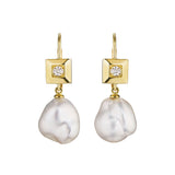 Square Bezel Pearl Drop Earrings