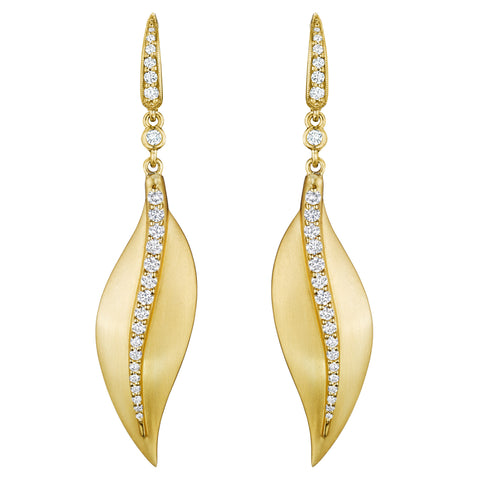 Diamond Center Leaf Earrings