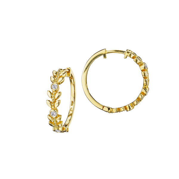 Round & Leaf Hoop Earrings