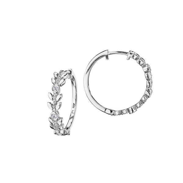 Petite Round & Leaf Hoop Earrings